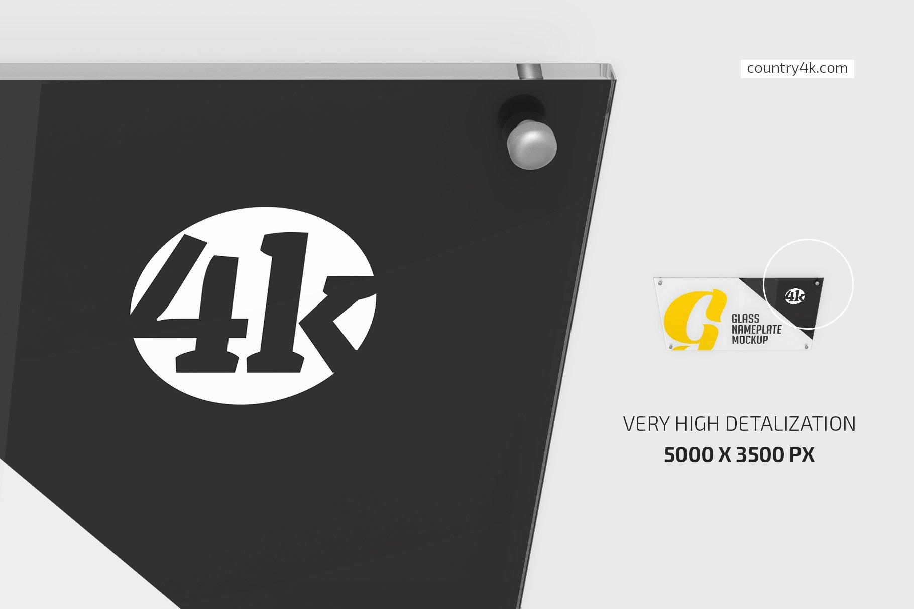 5款矩形玻璃铭牌门牌PSD样机模板 Rectangular Glass Nameplate Mockup插图(2)