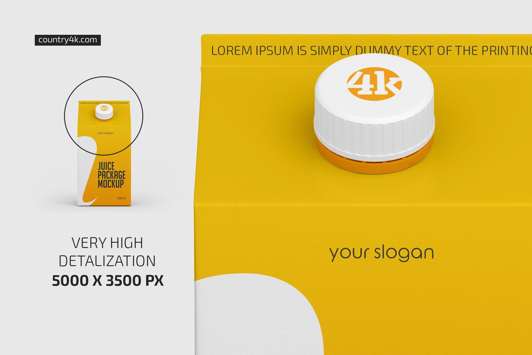 500毫升哑光果汁纸盒包装样机套装 500ml Juice Carton Package Mockup插图(2)