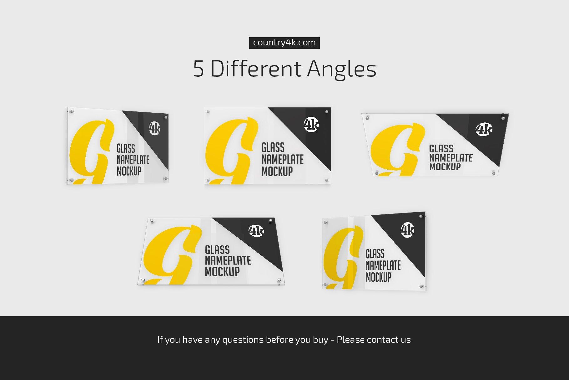 5款矩形玻璃铭牌门牌PSD样机模板 Rectangular Glass Nameplate Mockup插图(3)