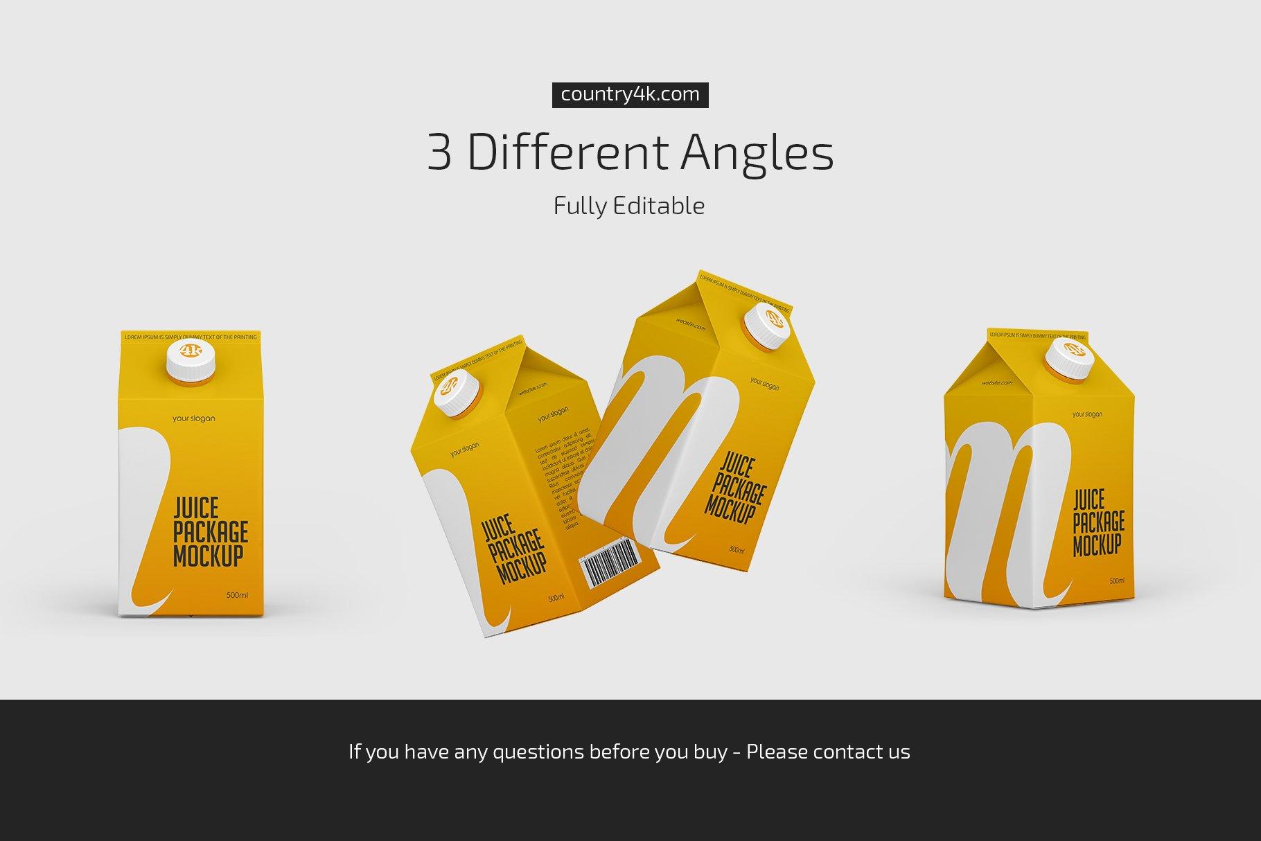 500毫升哑光果汁纸盒包装样机套装 500ml Juice Carton Package Mockup插图(3)