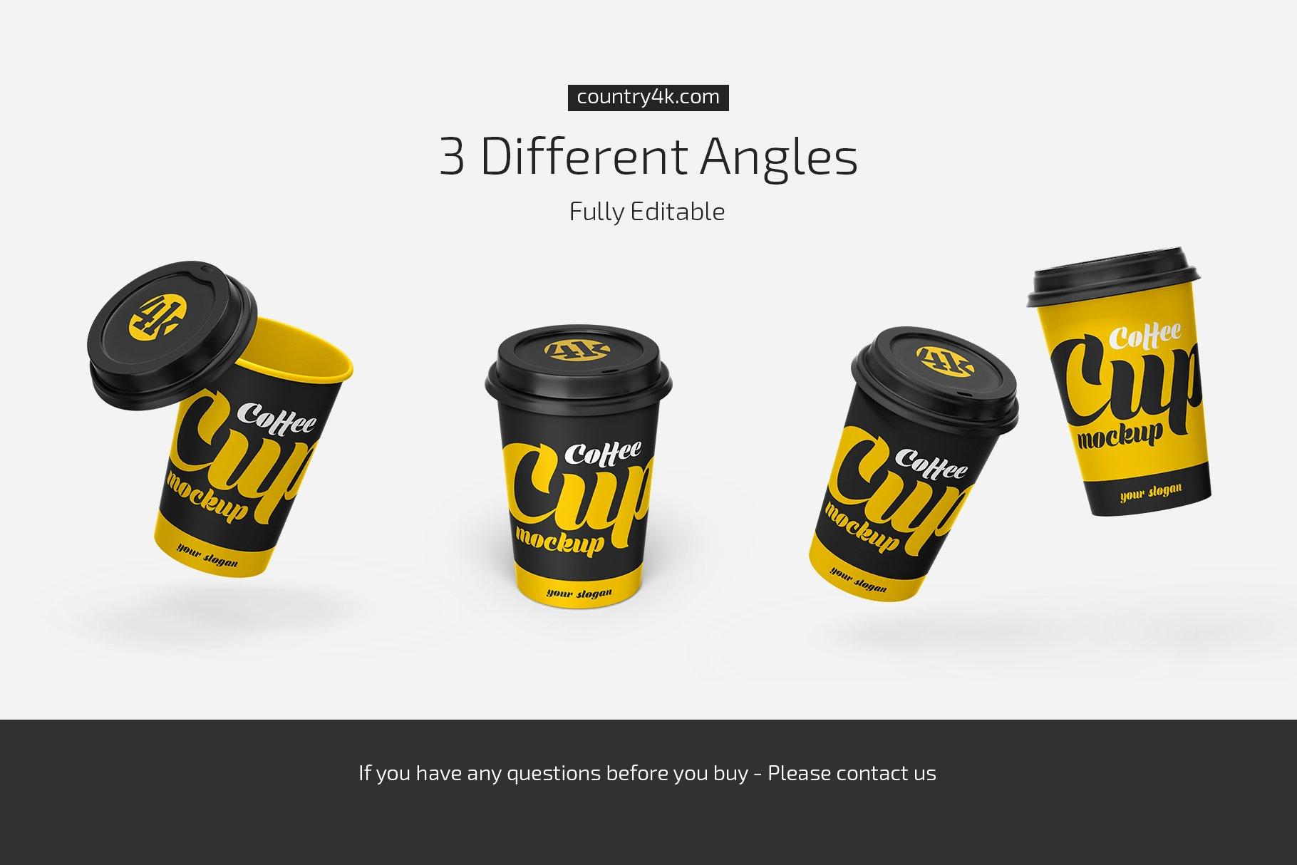 一次性外卖咖啡纸杯设计展示样机模板 Paper Coffee Cup Mockup Set插图(3)