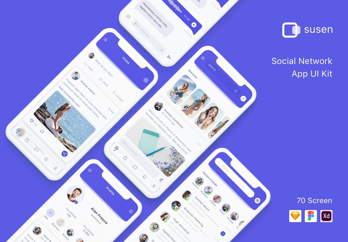 交友社交APP应用界面社交UI套件 Susen – Social Network App UI Kit插图