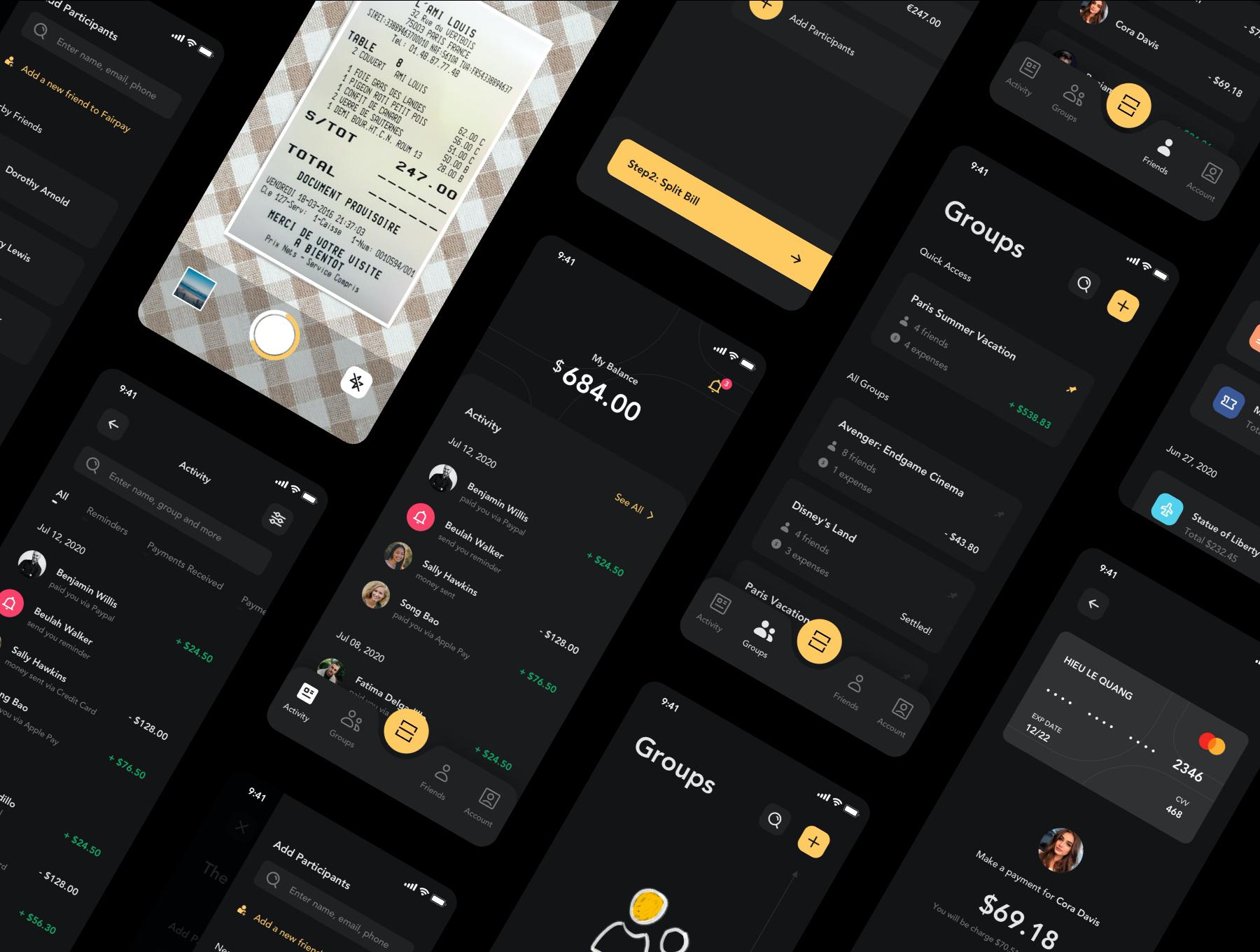 货币金融财务账单管理APP应用设计UI套件 Fairpay – Split Bill App UI Kit插图(6)