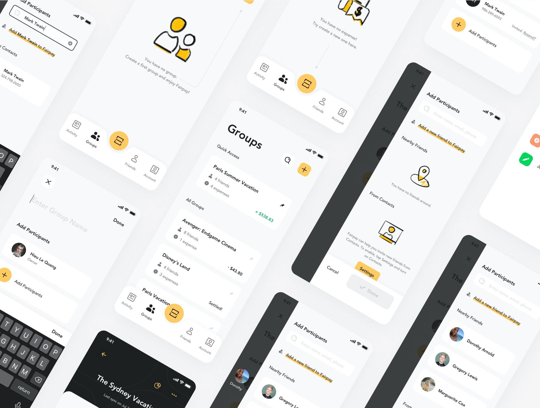 货币金融财务账单管理APP应用设计UI套件 Fairpay – Split Bill App UI Kit插图(5)
