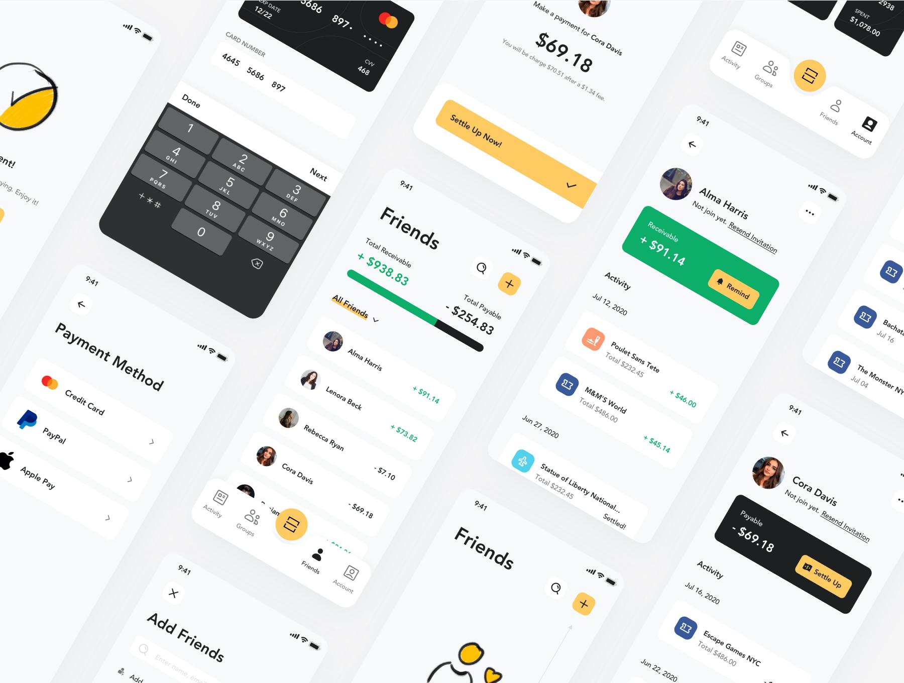 货币金融财务账单管理APP应用设计UI套件 Fairpay – Split Bill App UI Kit插图(2)