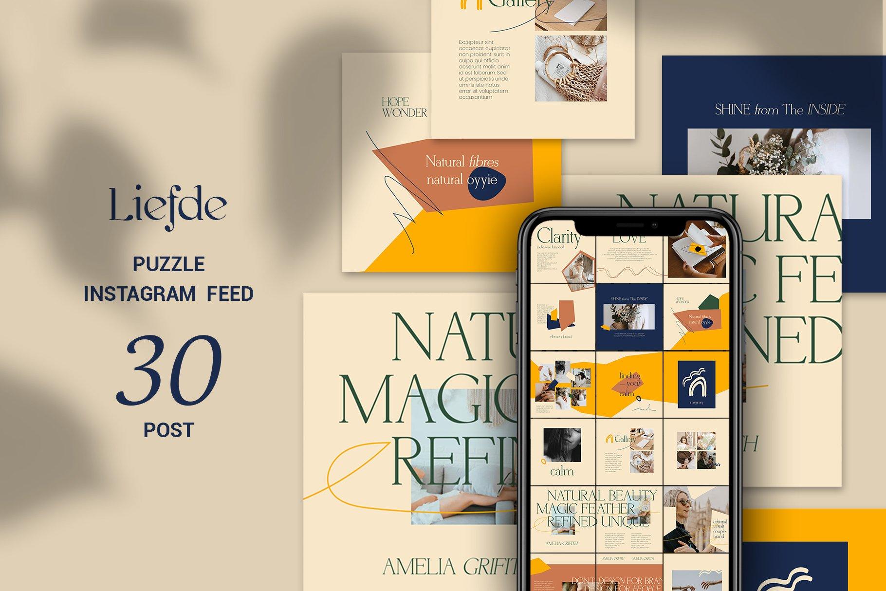 轻奢品牌推广新媒体海报设计模板 Liefde Puzzle Instagram Feed插图