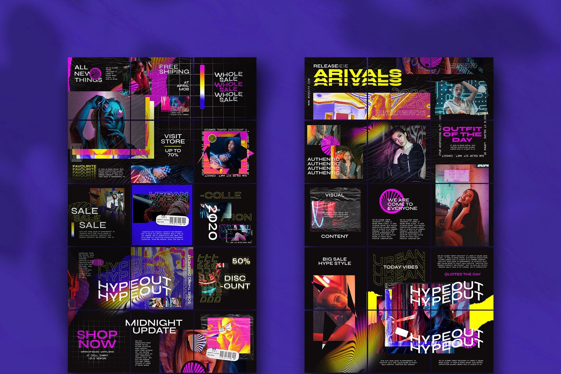 潮流品牌推广新媒体海报设计PSD模板 Hype Content Puzzle Instagram Feed插图(1)