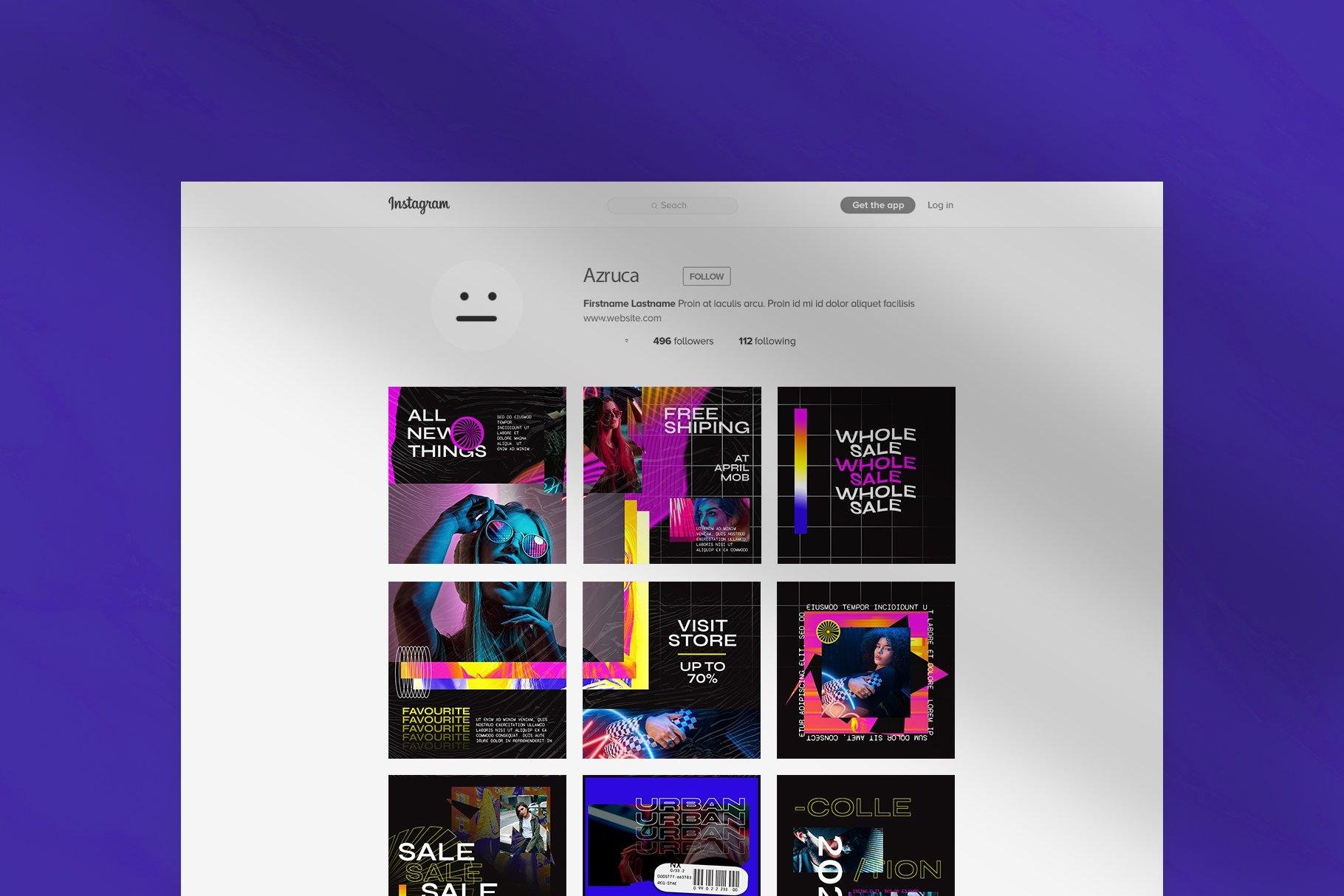 潮流品牌推广新媒体海报设计PSD模板 Hype Content Puzzle Instagram Feed插图(3)