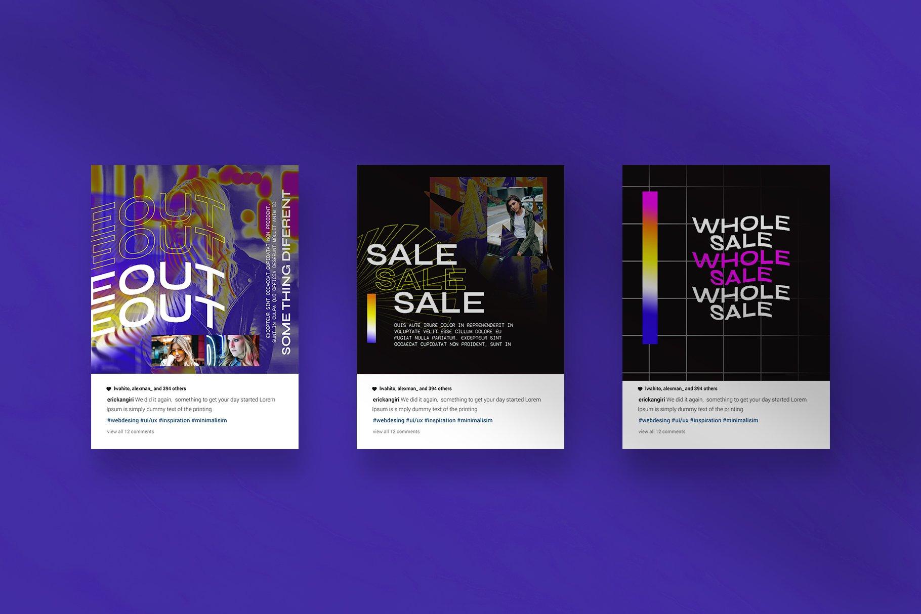 潮流品牌推广新媒体海报设计PSD模板 Hype Content Puzzle Instagram Feed插图(5)