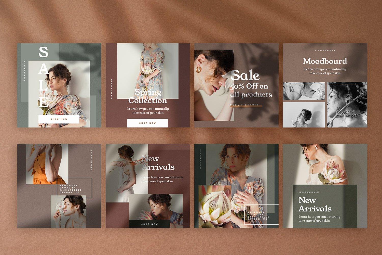 自然阴影服装品牌推广社交新媒体海报设计模板 Natural Shadows Stories – Social Kit插图(2)