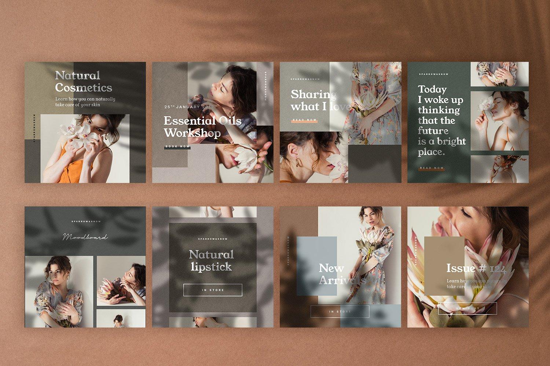 自然阴影服装品牌推广社交新媒体海报设计模板 Natural Shadows Stories – Social Kit插图(1)
