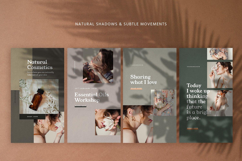 自然阴影服装品牌推广社交新媒体海报设计模板 Natural Shadows Stories – Social Kit插图(4)
