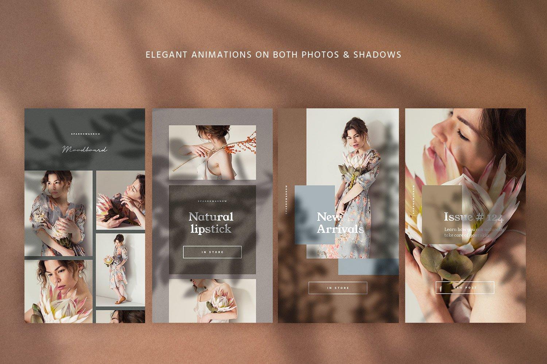 自然阴影服装品牌推广社交新媒体海报设计模板 Natural Shadows Stories – Social Kit插图(5)