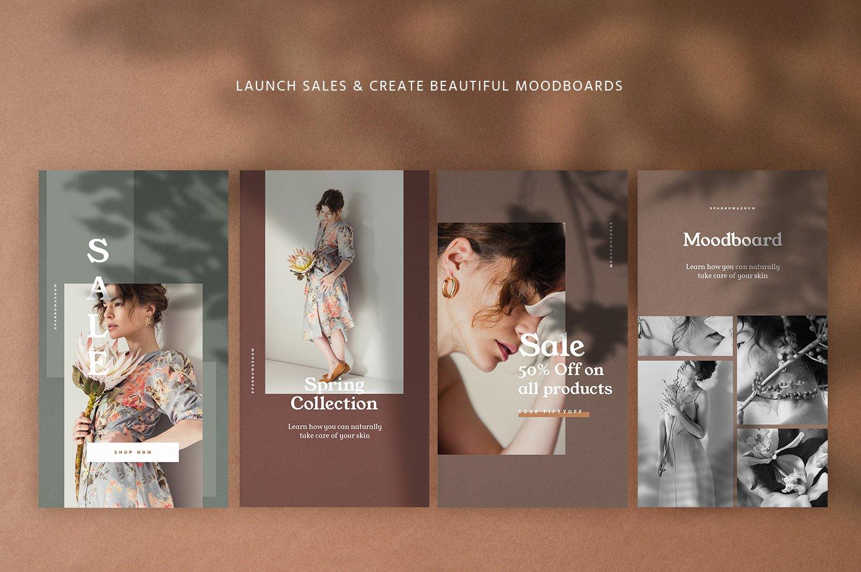 自然阴影服装品牌推广社交新媒体海报设计模板 Natural Shadows Stories – Social Kit插图(6)