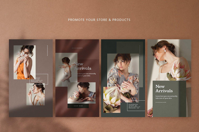 自然阴影服装品牌推广社交新媒体海报设计模板 Natural Shadows Stories – Social Kit插图(7)