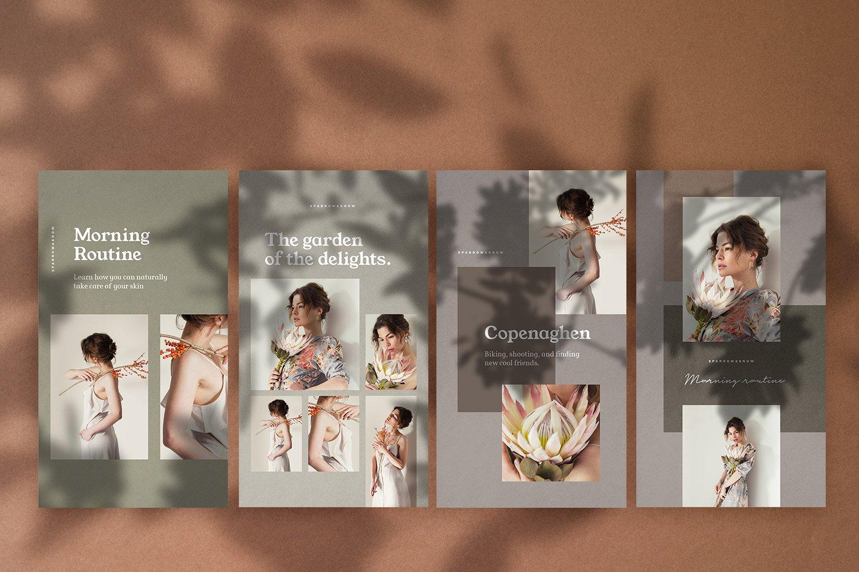 自然阴影服装品牌推广社交新媒体海报设计模板 Natural Shadows Stories – Social Kit插图(8)