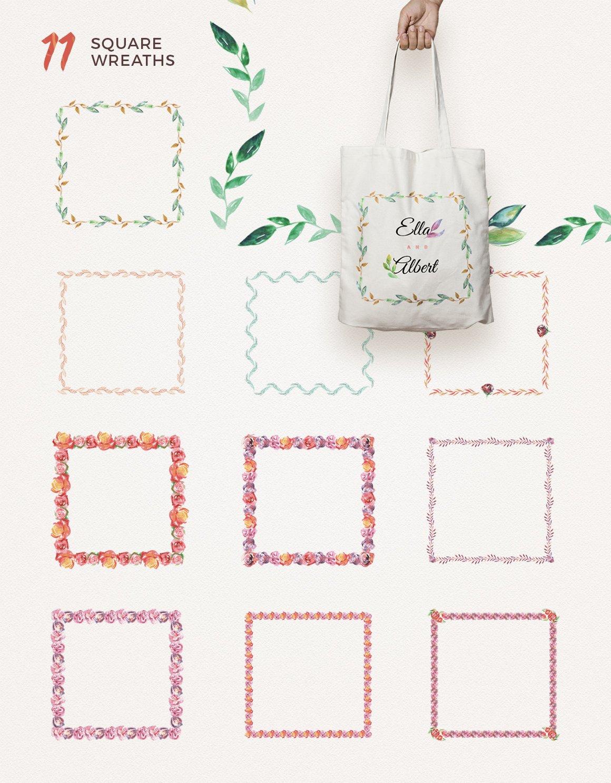高清手绘花卉树叶水彩剪贴画PNG免抠图片素材 Watercolor Handmade Design Bundle插图(9)