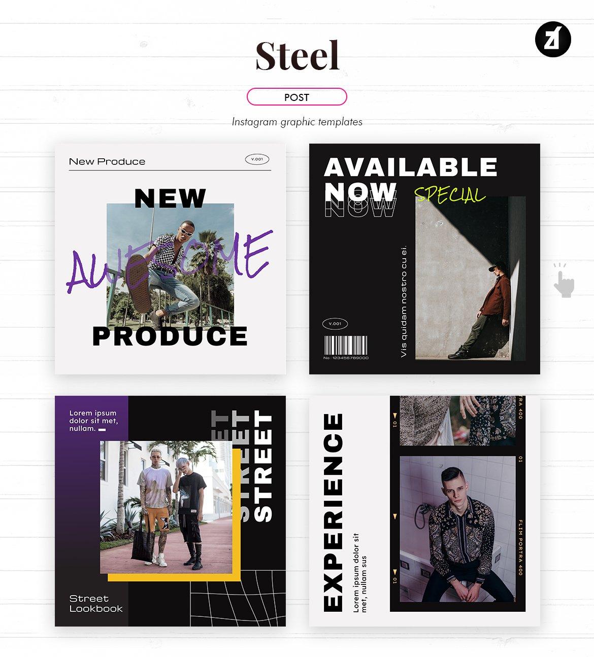 潮流撕纸效果新媒体推广海报设计模板 Steel Social Media Graphic Templates插图(1)