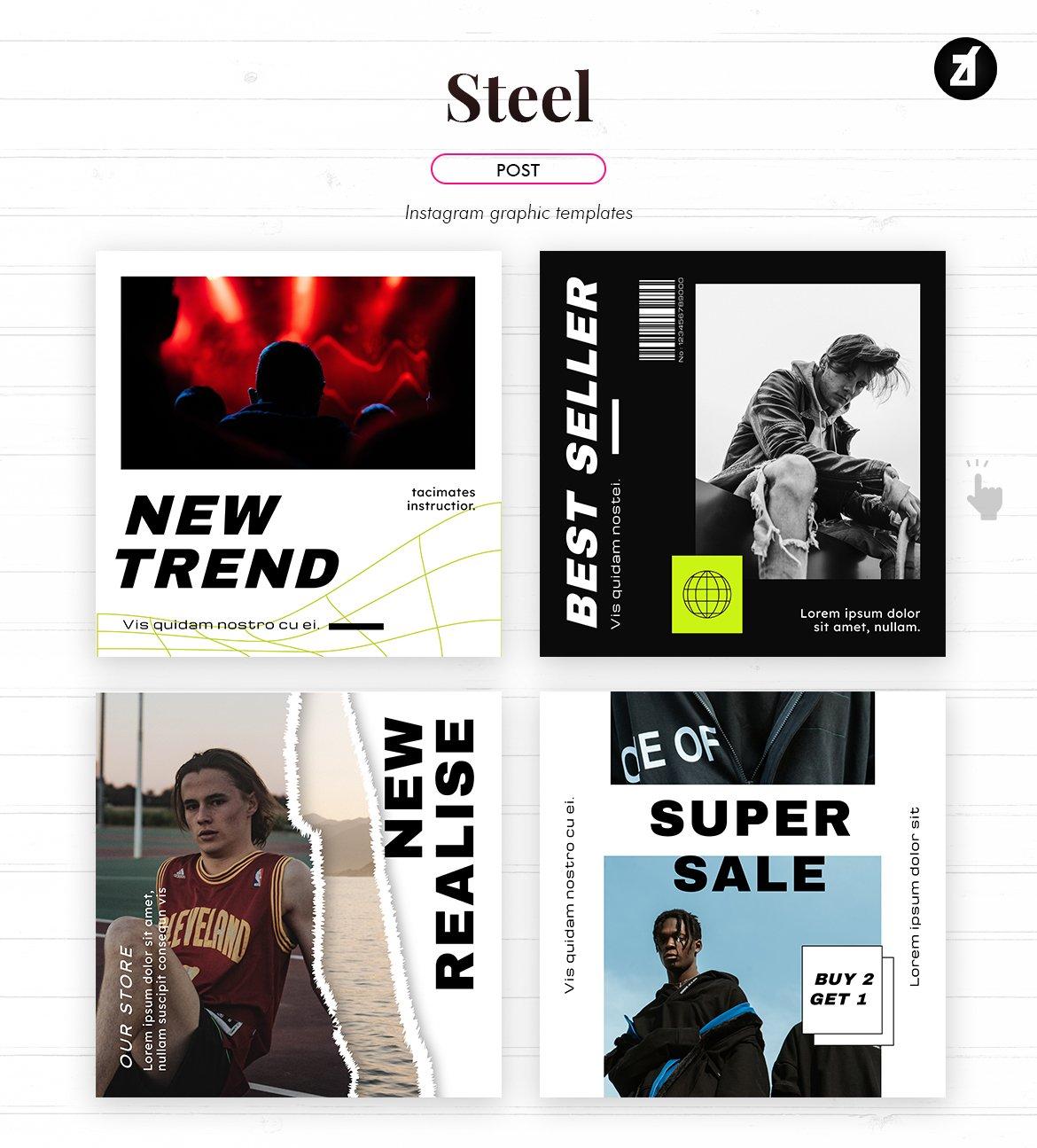 潮流撕纸效果新媒体推广海报设计模板 Steel Social Media Graphic Templates插图(2)