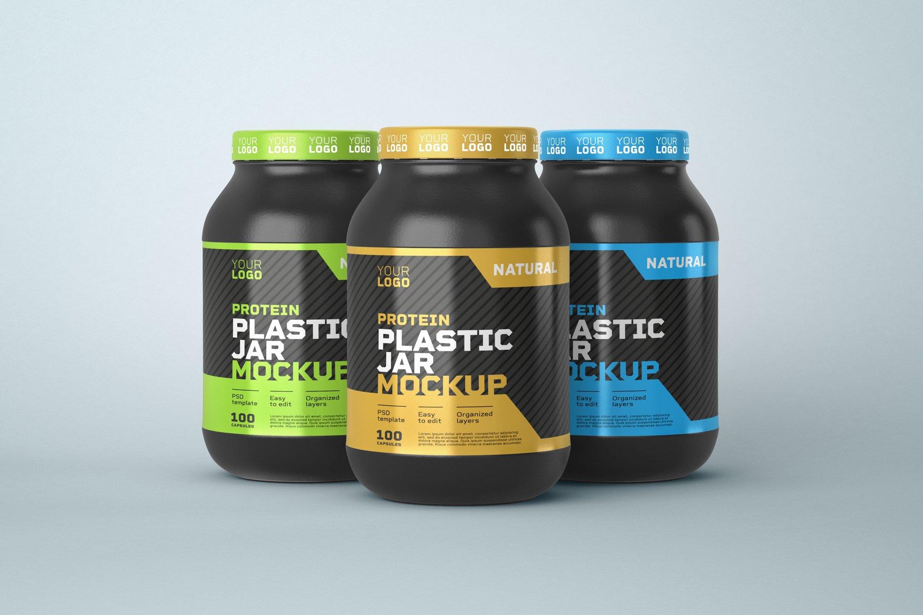 10款食物塑料罐标签设计展示样机模板 Food Supplement Plastic Jar Mockup插图(1)