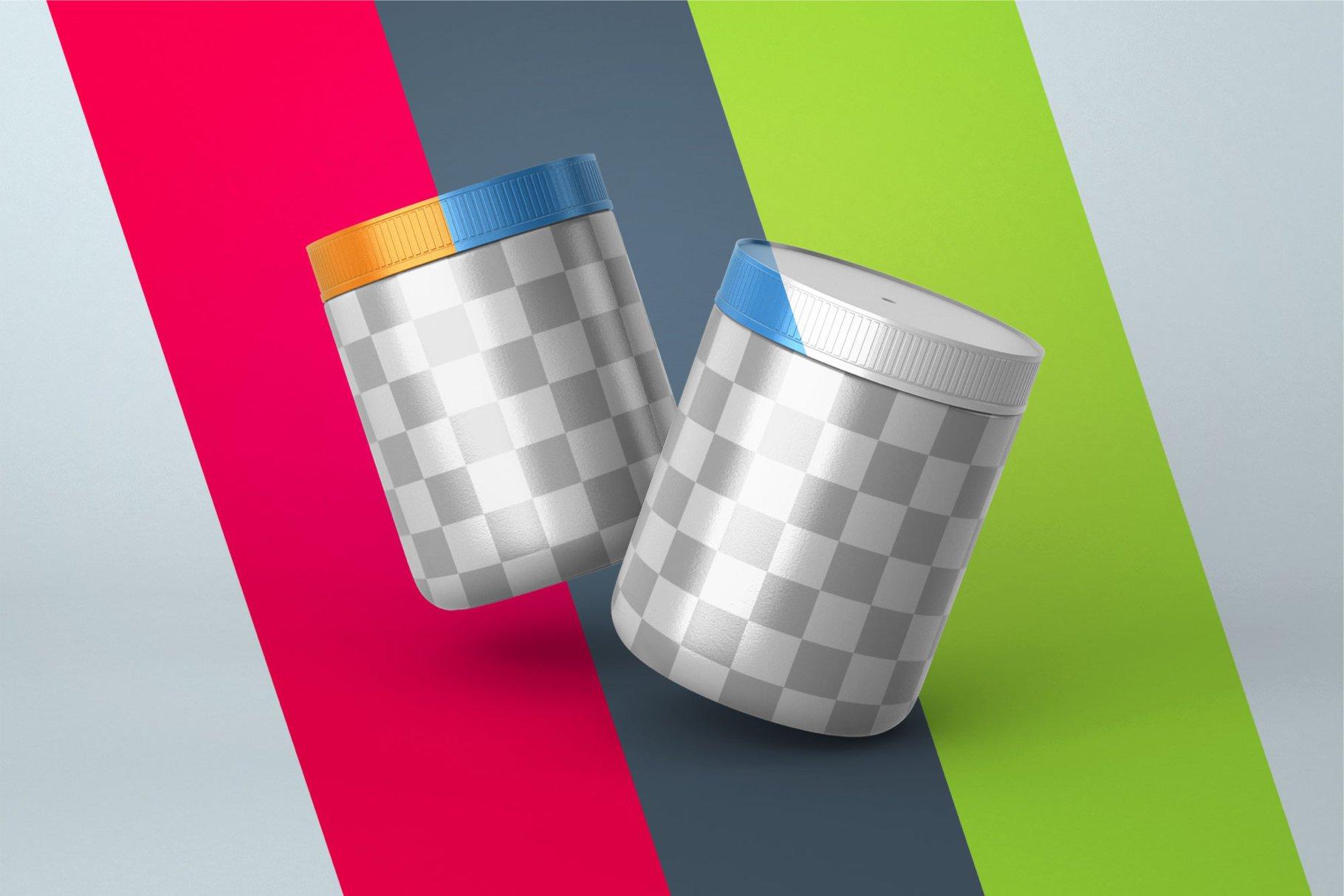 10款食物塑料罐标签设计展示样机模板 Food Supplement Plastic Jar Mockup插图(12)