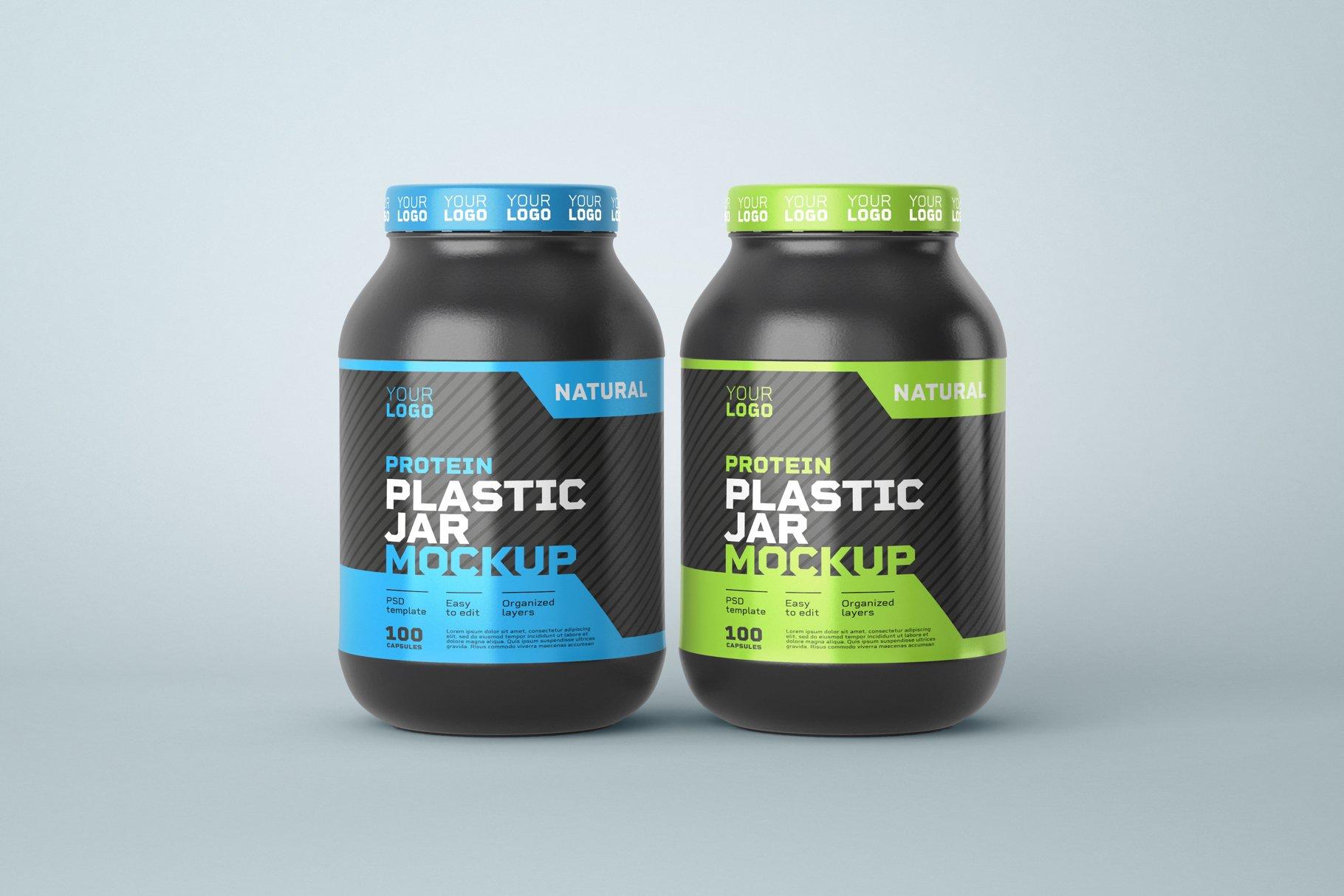 10款食物塑料罐标签设计展示样机模板 Food Supplement Plastic Jar Mockup插图(4)