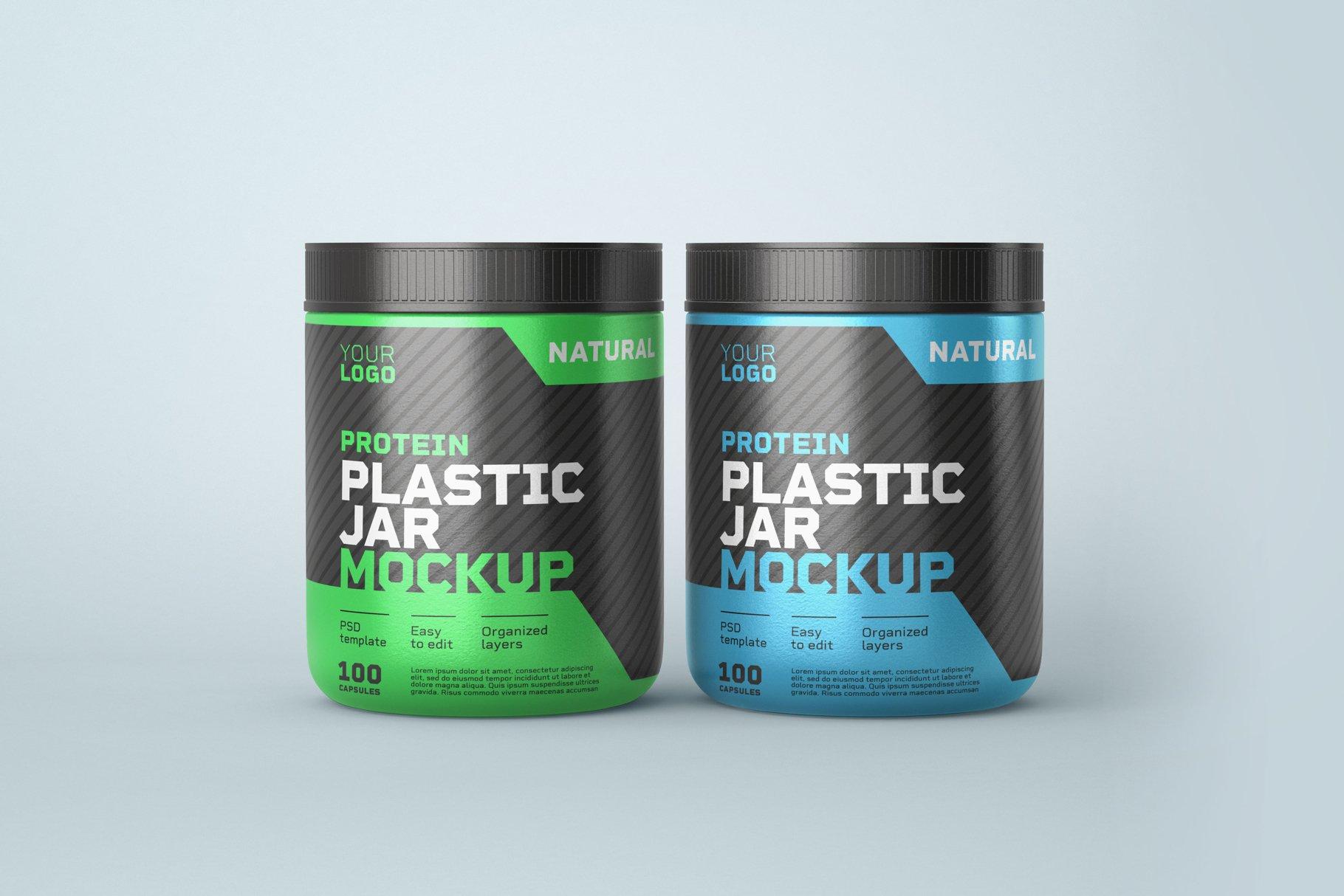 10款食物塑料罐标签设计展示样机模板 Food Supplement Plastic Jar Mockup插图(7)