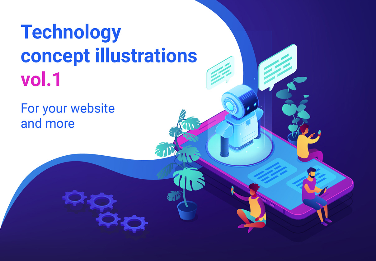 6款技术机器人等距2.5D矢量概念插画 Technology Isometric UV Concept Illustrations插图