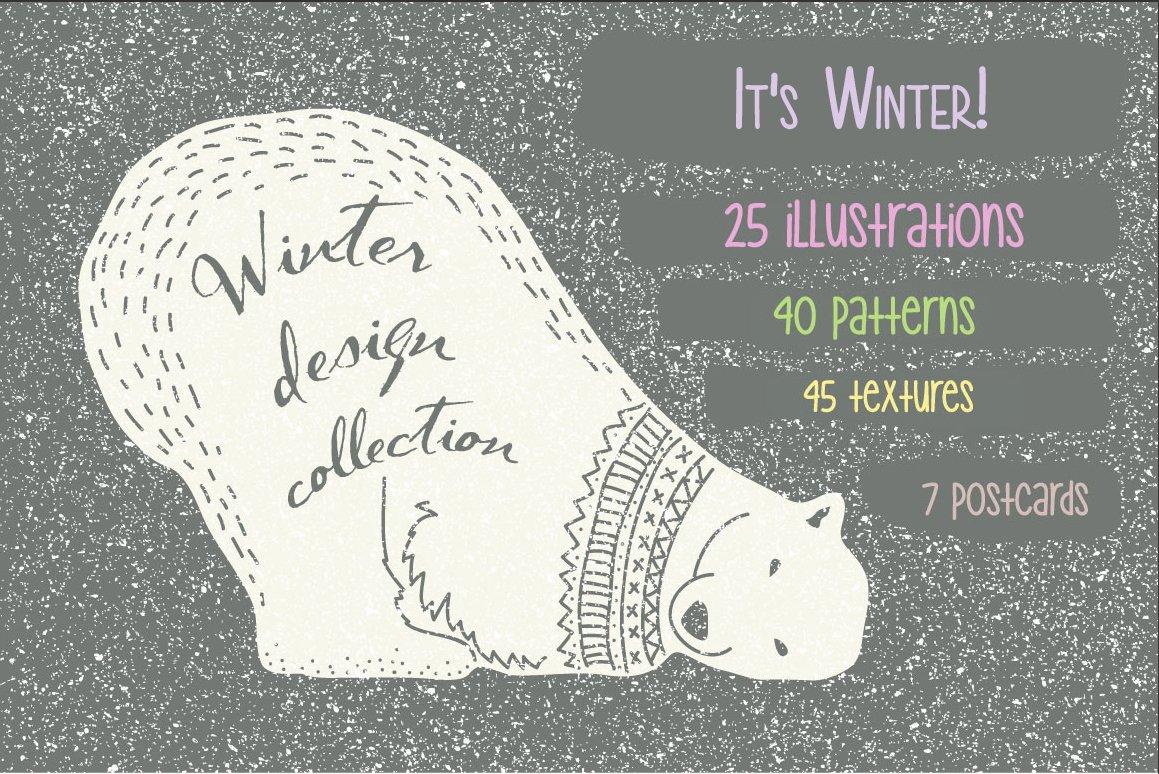 冬季圣诞季主题北极熊动物植物矢量素材 Winter Collection插图