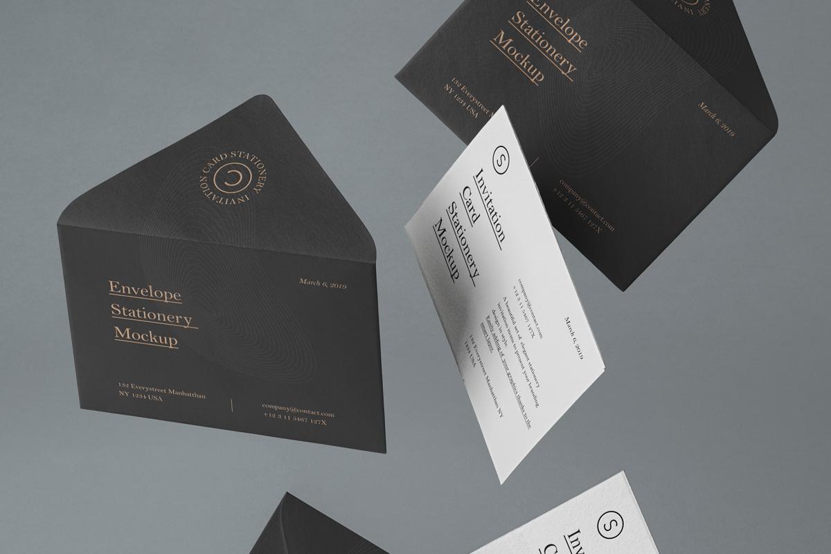 悬浮邀请卡信封设计展示样机模板 Gravity Psd Invitation Mockup插图