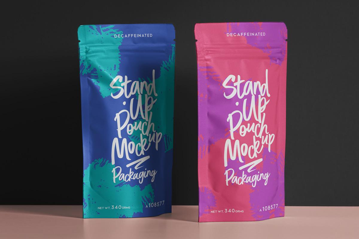 精美自立袋自封袋设计展示PSD样机模板 Psd Pouch Packaging Mockup Set插图