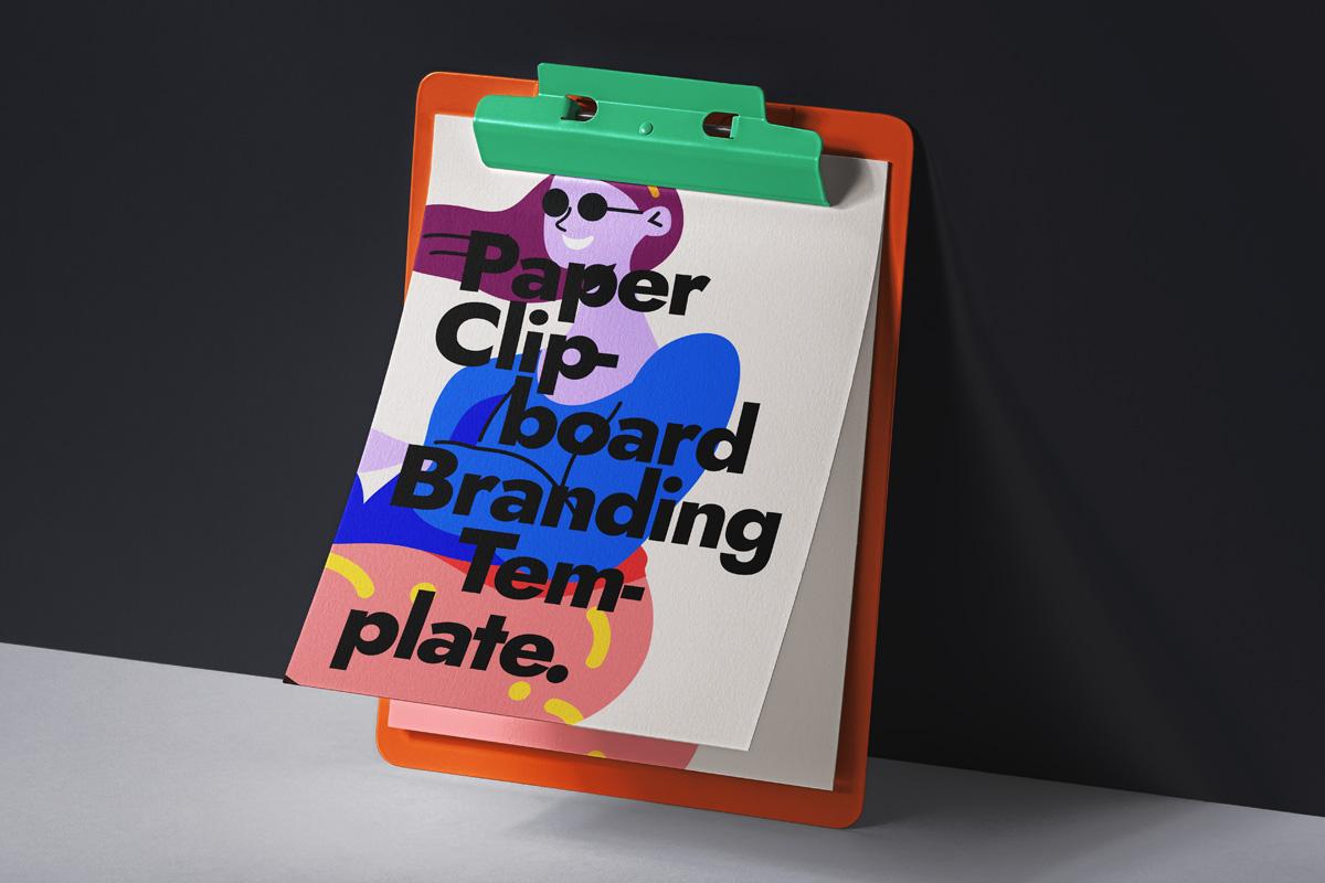 办公用品剪贴板样机模板 Paper Psd Clipboard Mockup插图
