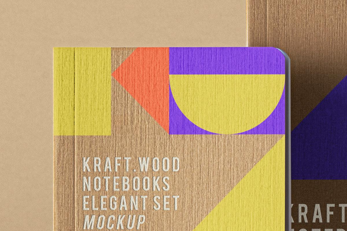 优雅牛皮纸笔记本设计展示PSD样机合集 Psd Kraft Notebook Set Mockup插图(1)