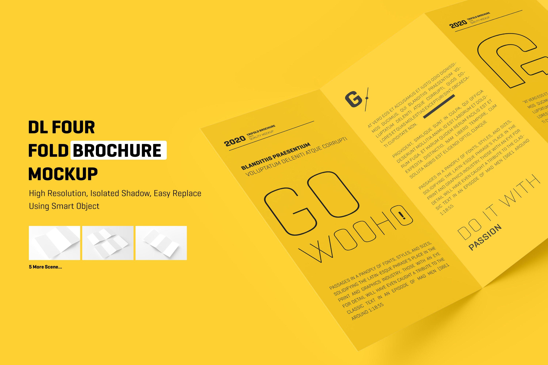 8款四折页小册子设计展示样机模板 DL 4 Fold Brochure Mockup插图