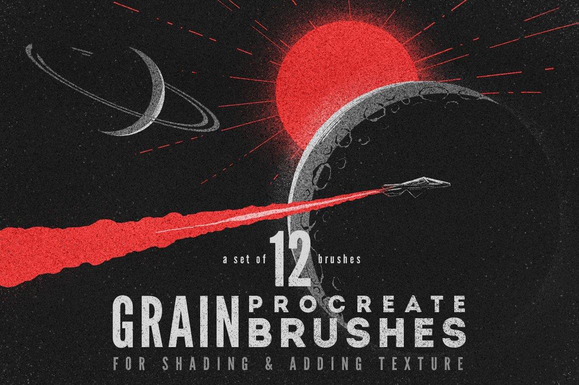 12款粗糙颗粒绘画Procreate笔刷 Grain Procreate Brushes插图