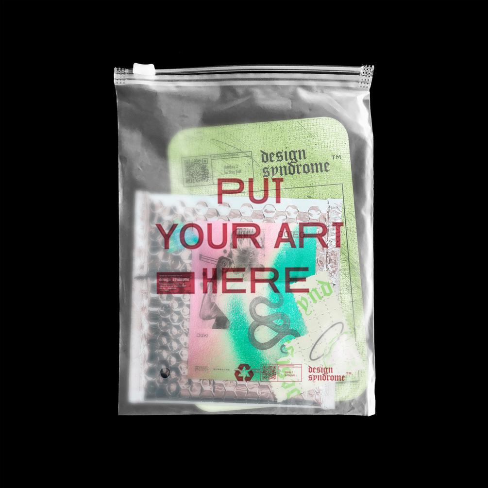 潮流半透明拉链塑料袋设计贴图PSD样机模板 Translucent Plastic Bag Mockup插图
