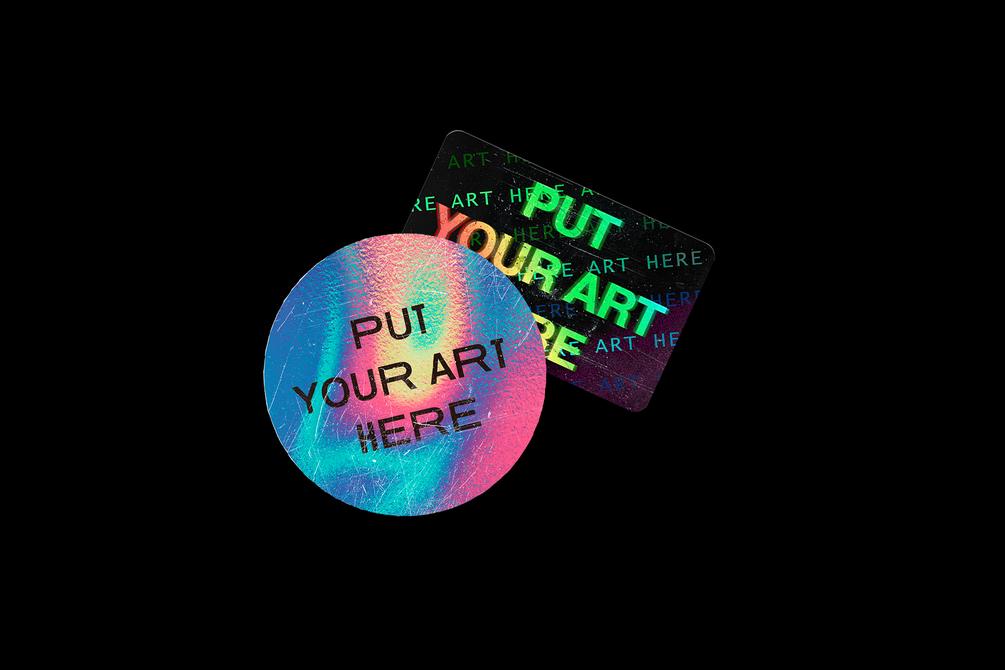 [淘宝购买 ] 潮流全息渐变镭射贴纸生成PSD样机模板 Holographic Sticker Generator插图