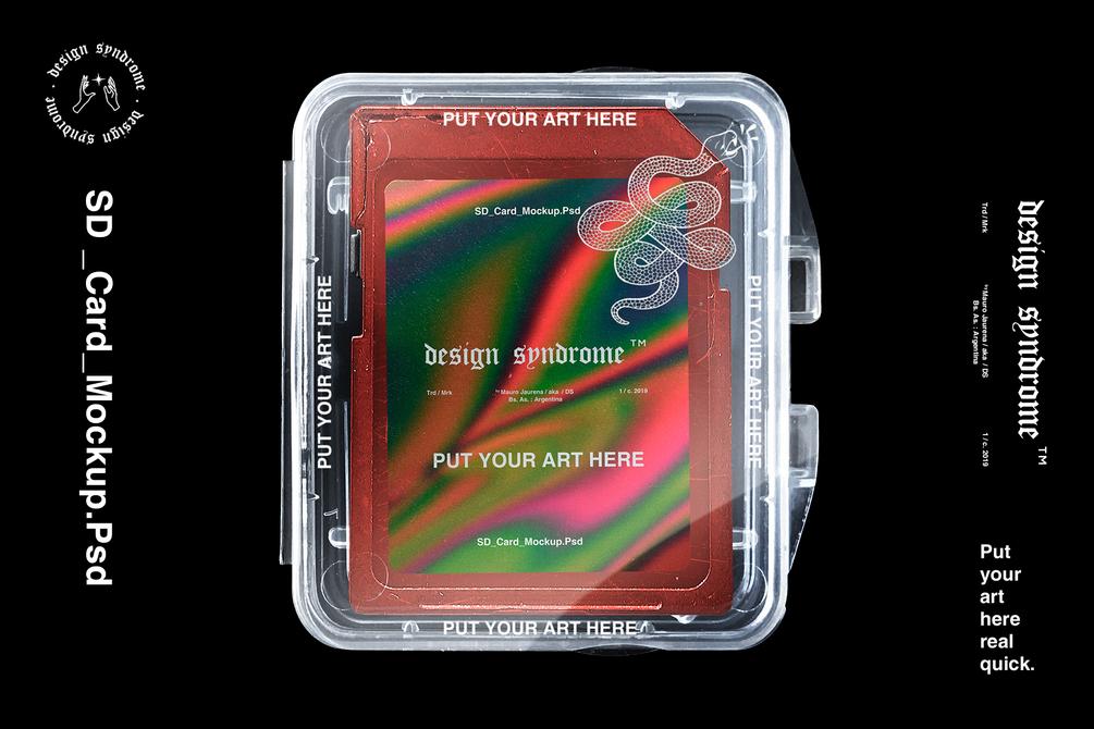 [淘宝购买] 潮流闪存卡包装盒设计PSD样机模板 SD Card Mockup插图