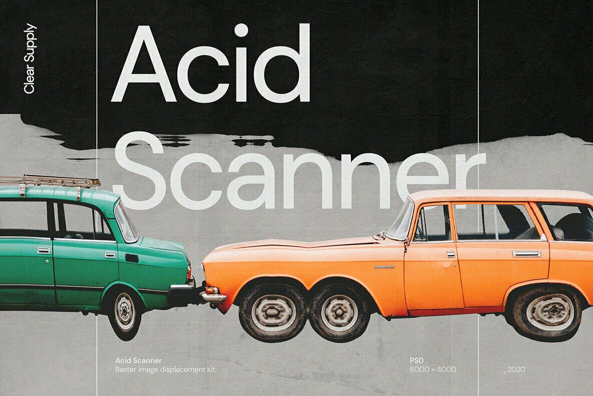[淘宝购买] 60款高清扭曲故障位移海报设计效果样机PSD模版设计素材 Clear Supply – Acid Scanner插图