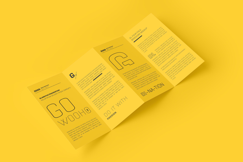 8款四折页小册子设计展示样机模板 DL 4 Fold Brochure Mockup插图(1)