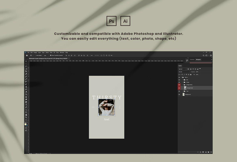 现代简约品牌推广新媒体电商海报设计模板 Minimalist Instagram for Creator插图(1)