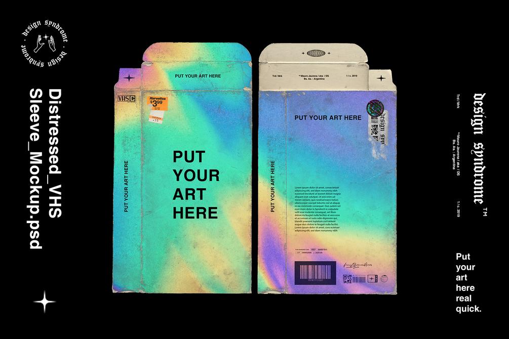 潮流磨损产品磁带包装纸盒设计展示PS样机模板 Distressed VHS Sleeve Mockup插图