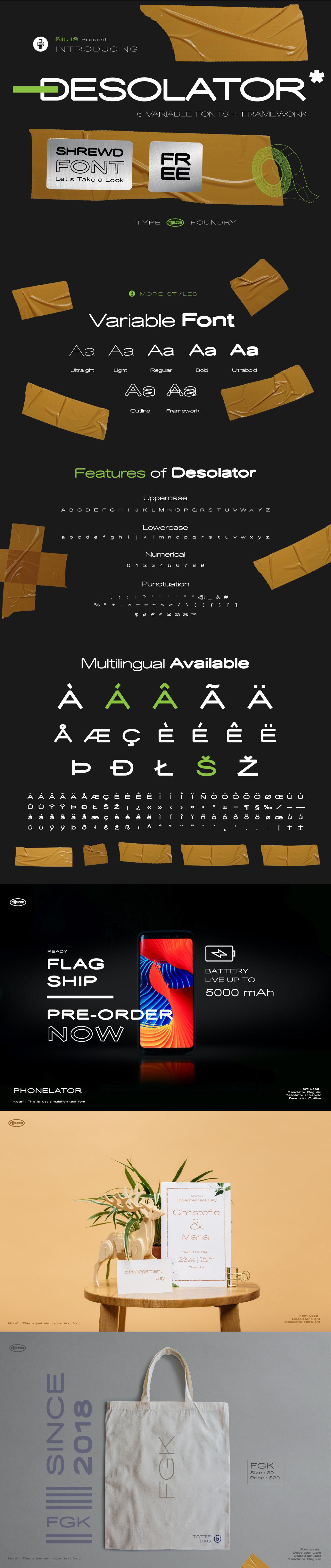 现代优雅无衬线英文字体下载 Desolator Font插图