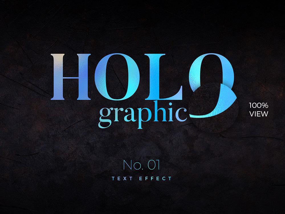 10种全息渐变效果海报标题文字设计PS样式模板 10 Holographic Text Effects插图