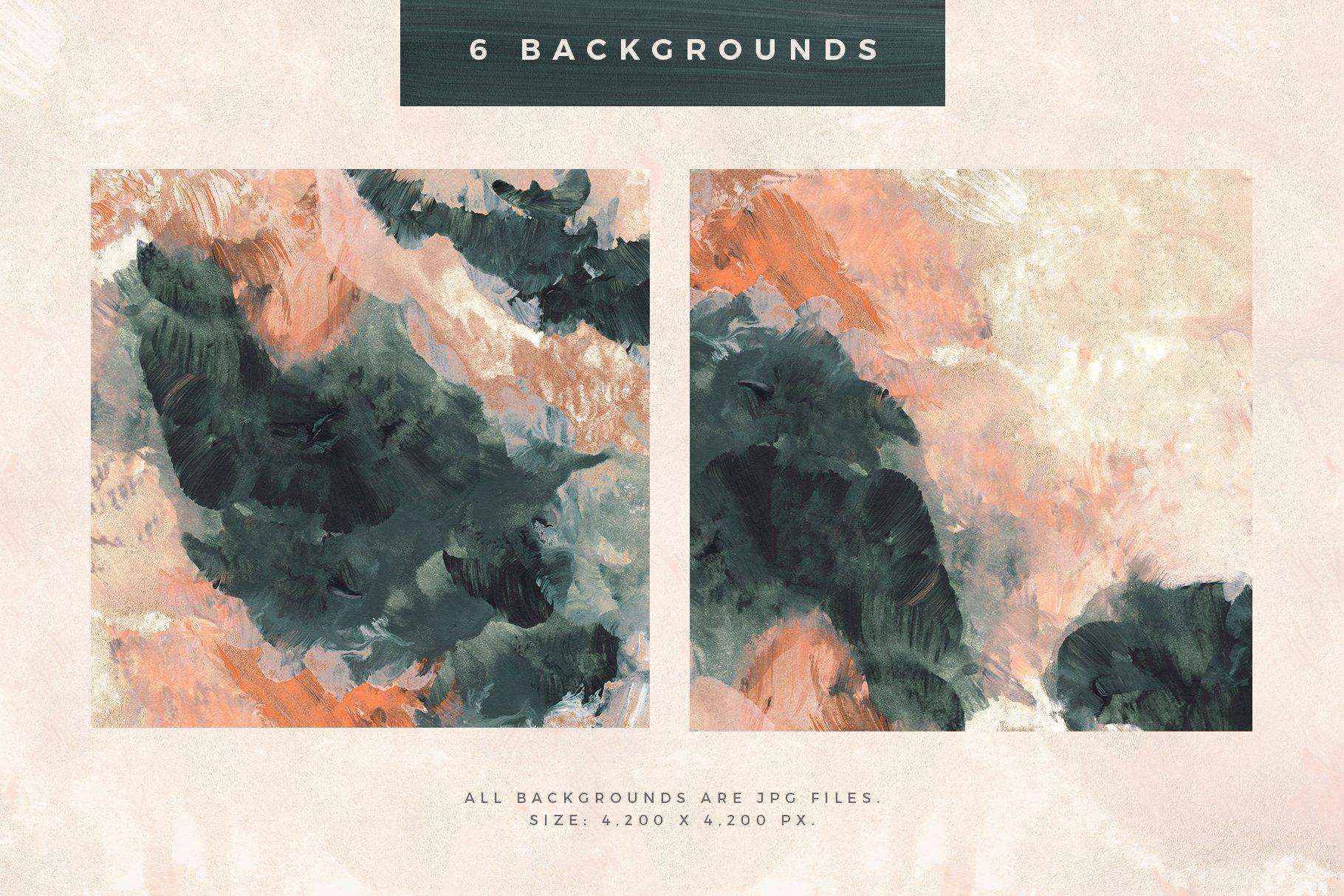[淘宝购买] 时尚优雅抽象多彩丙烯酸颜料笔刷肌理背景PNG图片素材 Painterly Shapes & Backgrounds插图(1)