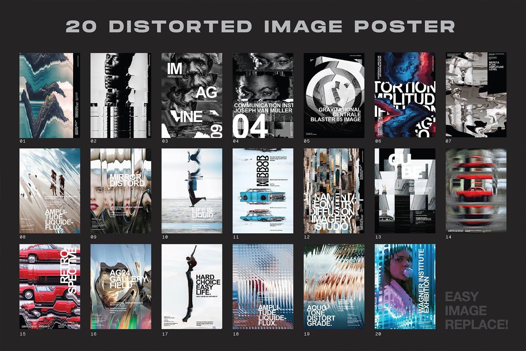 [淘宝购买] 20款抽象扭曲故障主视觉海报图片设计效果PS样式模板 Evlogiev – Distort Image Poster插图(1)