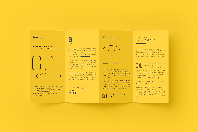 8款四折页小册子设计展示样机模板 DL 4 Fold Brochure Mockup插图(2)