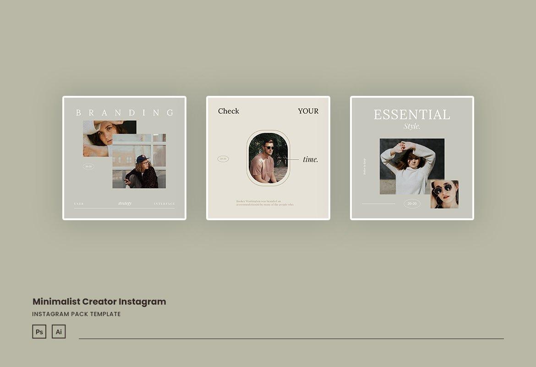 现代简约品牌推广新媒体电商海报设计模板 Minimalist Instagram for Creator插图(2)