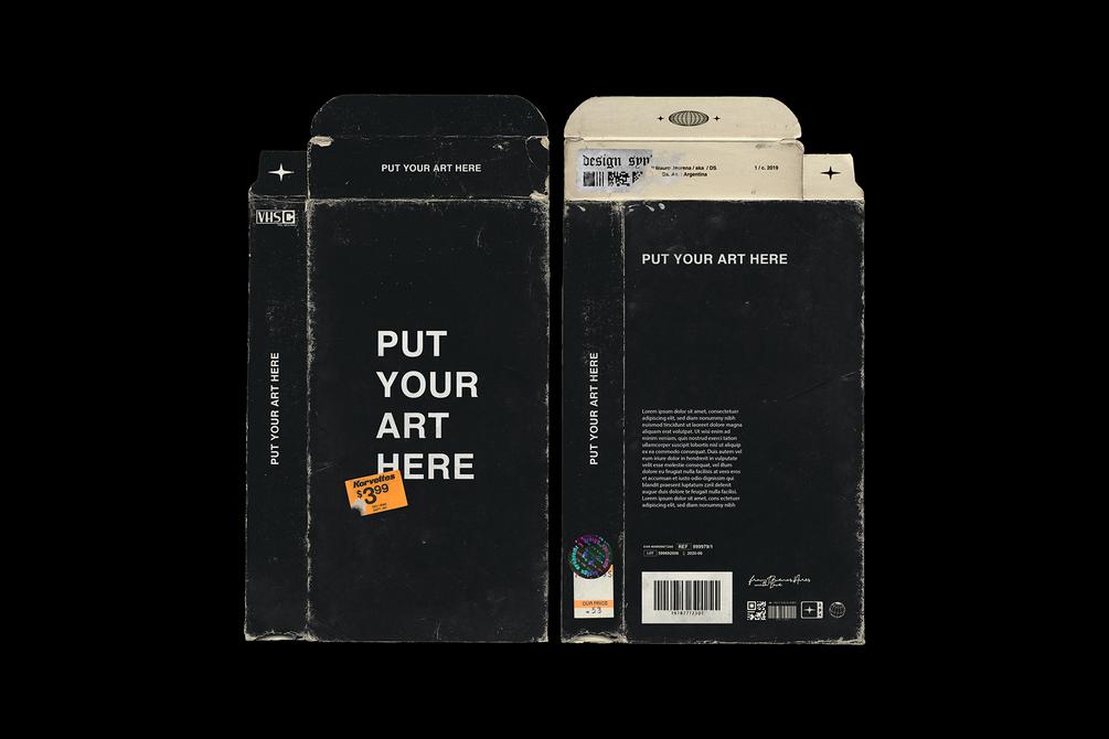 潮流磨损产品磁带包装纸盒设计展示PS样机模板 Distressed VHS Sleeve Mockup插图(1)