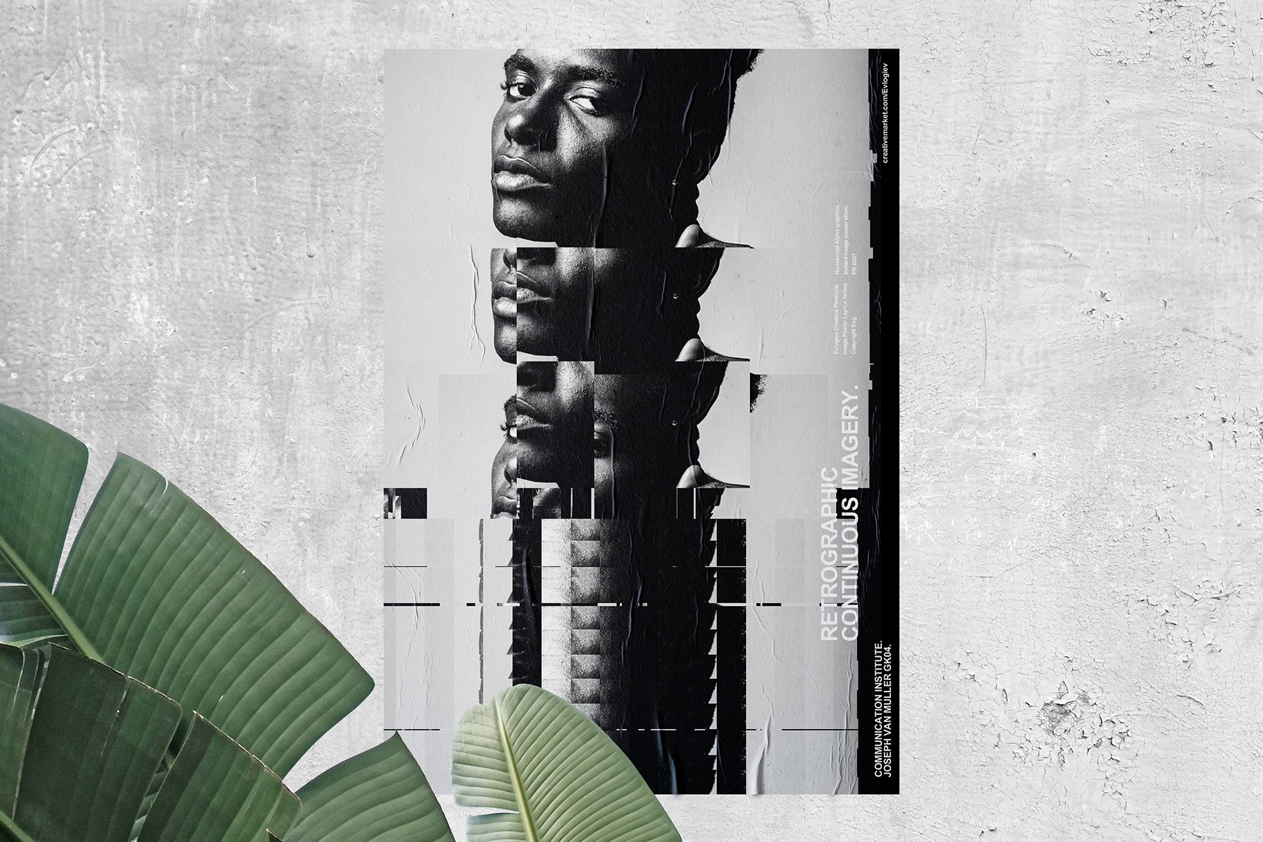[淘宝购买] 20款抽象扭曲故障主视觉海报图片设计效果PS样式模板 Evlogiev – Distort Image Poster插图(2)